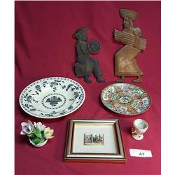 8 Piece Lot. 2 Wood Piece Figures, 1 Framed Picture & 4 Porcelain Pieces