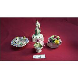 3 English Porcelain Floral Pieces & 1 Goebel Flower Frog Crown Mark