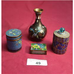 4 Vintage Cloisonne Pieces