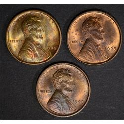 3-1909 VDB LINCOLN CENTS, CH BU RB