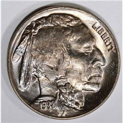 1938-D BUFFALO NICKEL, GEM BU