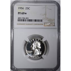 1956 WASHINGTON QTR NGC PF 69 STAR!