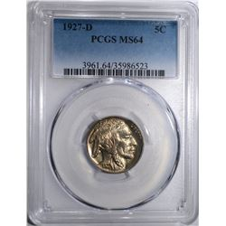1927-D BUFFALO NICKEL, PCGS MS-64