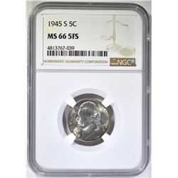1945-S JEFFERSON SILVER NICKEL, NGC MS-66 FS