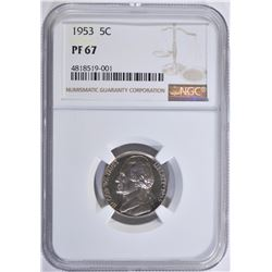 1953 JEFFERSON NICKEL, NGC PF-67