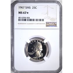 1967 SMS WASHINGTON QTR NGC MS67*