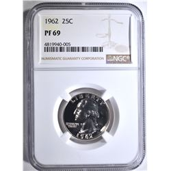 1962 WASHINGTON QUARTER, NGC PF-69