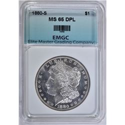 1880-S MORGAN DOLLAR, EMGC GEM BU DPL