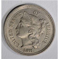 1871 THREE CENT NICKEL  UNC