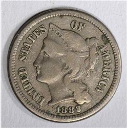 1882 THREE CENT NICKEL  XF