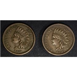 1859 XF & 1860 BROWN AU INDIAN HEAD CENTS