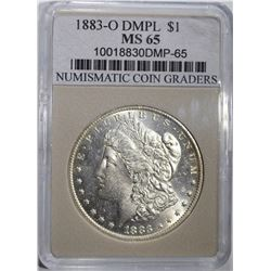 1883-O MORGAN DOLLAR NCG GRADED GEM BU DMPL