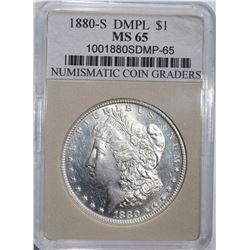 1880-S MORGAN DOLLAR NCG GRADED GEM BU DMPL