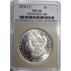 1878-CC MORGAN DOLLAR NCG GRADED SUPERB GEM+