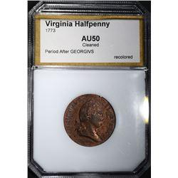 1773 VIRGINIA HALFPENNY PCI AU cleaned