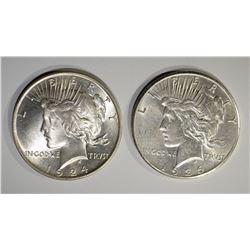 2 PEACE DOLLARS: 1924 CH BU+ & 1926 AU/UNC