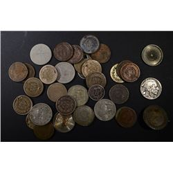 35-TYPE COINS LOW GRADE DAMAGE OR CORRODED