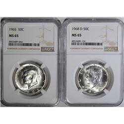 1965 & 1968-D KENNEDY HALF DOLLARS