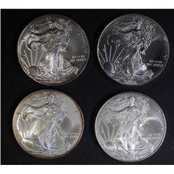 2006, 08, 10 & 14 BU AMERICAN SILVER EAGLES