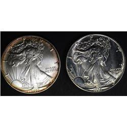 1987 & 91 BU AMERICAN SILVER EAGLES