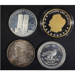 4-DIFFERENT ONE OUNCE .999 SILVER ROUNDS