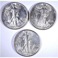 1941-D, 42 & 43 CH BU WALKING LIBERTY HALF DOLLARS