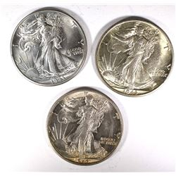 2-1943-S & 1-1943  CH BU WALKING LIBERTY HALVES