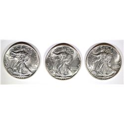 1943, 44 & 45 WALKING LIBERTY HALF DOLLARS CH BU