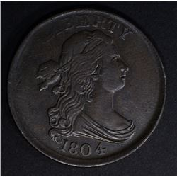1804 HALF CENT PLAIN 4 STEMLESS AU