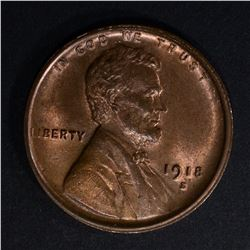 1918-S LINCOLN CENT CH/GEM BU RB