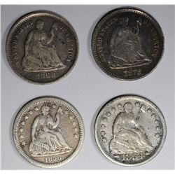 4 SEATED LIBERTY HALF DIMES:  1872 XF SCRATCHES,