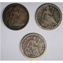 3 SEATED LIBERTY HALF DIMES:  1851-O G,