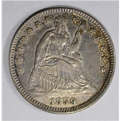 1859 SEATED LIBERTY HALF DIME  XF-AU