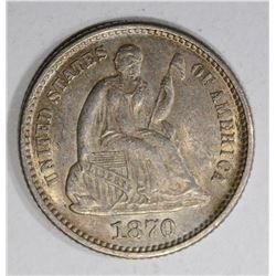 1870 SEATED LIBERTY HALF DIME  AU