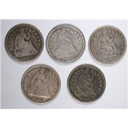 5 SEATED LIBERTY HALF DIMES:  1869 VG,