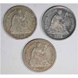 3 SEATED LIBERTY HALF DIMES:  1860 VG,