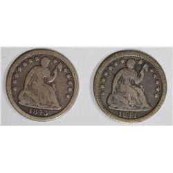 2 SEATED LIBERTY HALF DIMES:  1843 VG &