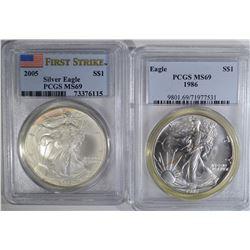 1986 & 2005 AMERICAN SILVER EAGLE DOLLARS