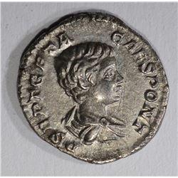 209-212AD SILVER DENARIUS EMPEROR GETA ROME