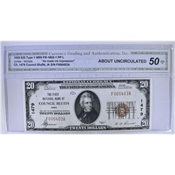 1929 TYPE 1 $20 NATIONAL CURRENCY