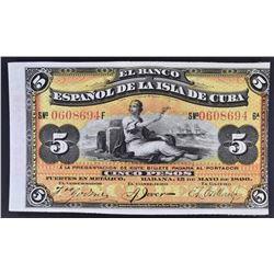 1896 5 SILVER PESOS BANK OF SPAIN