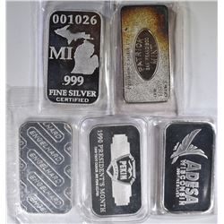 5-DIFFERENT ONE OUNCE .999 SILVER BARS