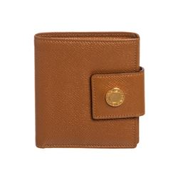 Bvlgari Brown Leather Compact Bifold Wallet