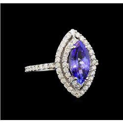 14KT White Gold 1.64 ctw Tanzanite and Diamond Ring