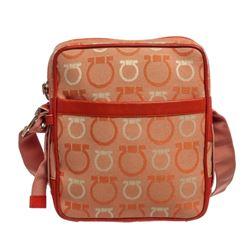 Salvatore Ferragamo Orange Canvas Leather Gancini Crossbody Bag