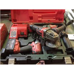 MILWAUKEE CORDLESS TOOL SET WITH 2 DRILLS, GRINDER, CHARGER AND CASE