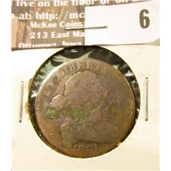 1801 Large Cent, Good, corrosion.
