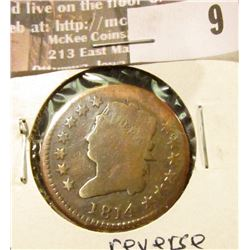 1814 plain Large Cent, Good, reverse scratches.