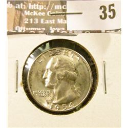 1954 S Silver Washington Quarter, GEM BU 65.