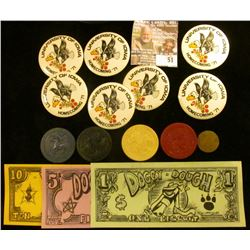 """Set of Three """"Doggy-Dough"""" 1, 5, & 10 Biscuit Notes. This Doggy Money was used at Wichita Grey Hound"""